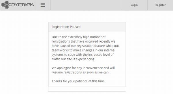 cryptopia(クリプトピア)registration paused(新規口座開設停止・新規会員登録停止)